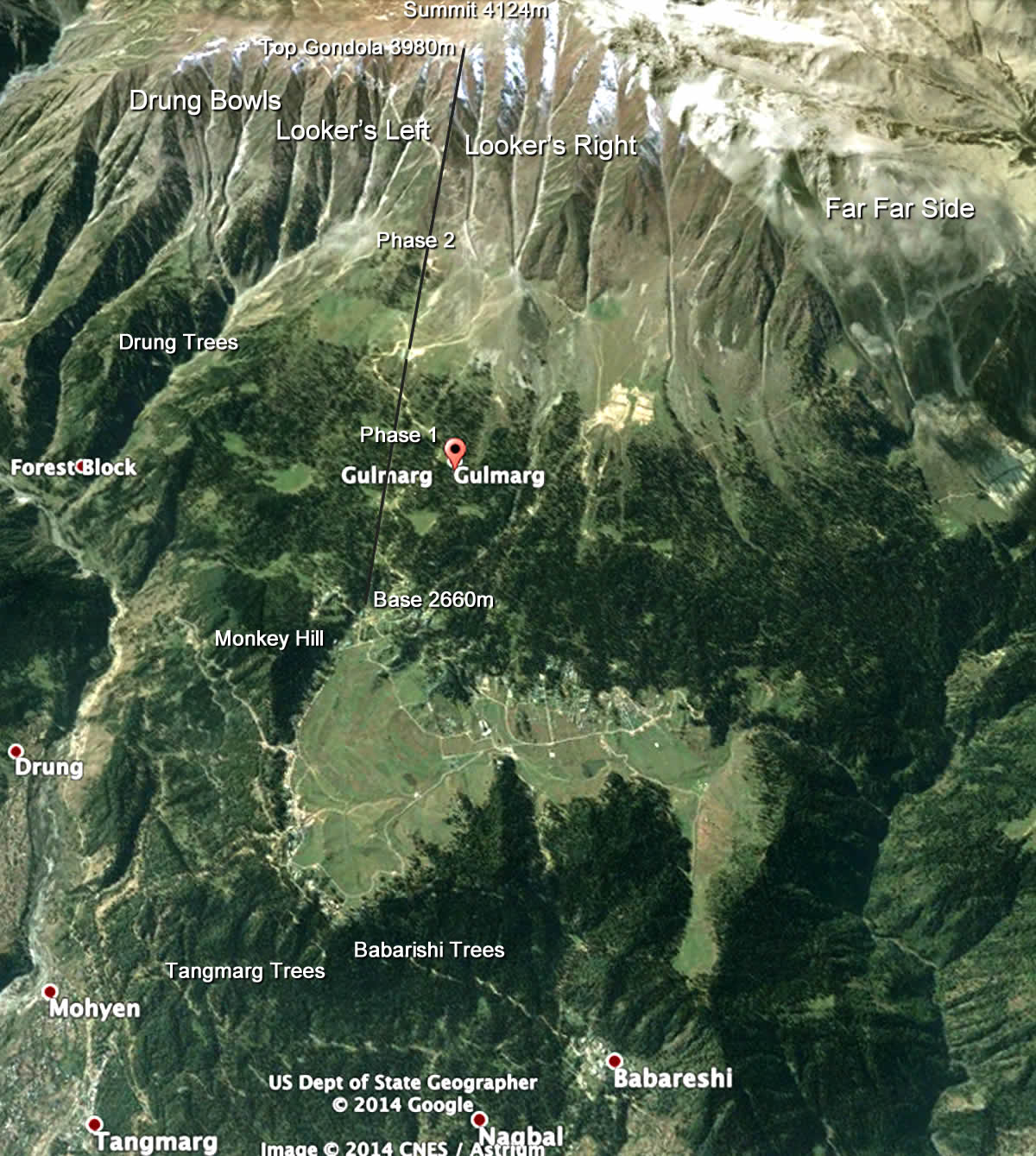 gulmarg ski resort map & trailmaps | snowboard | ski | kashmir